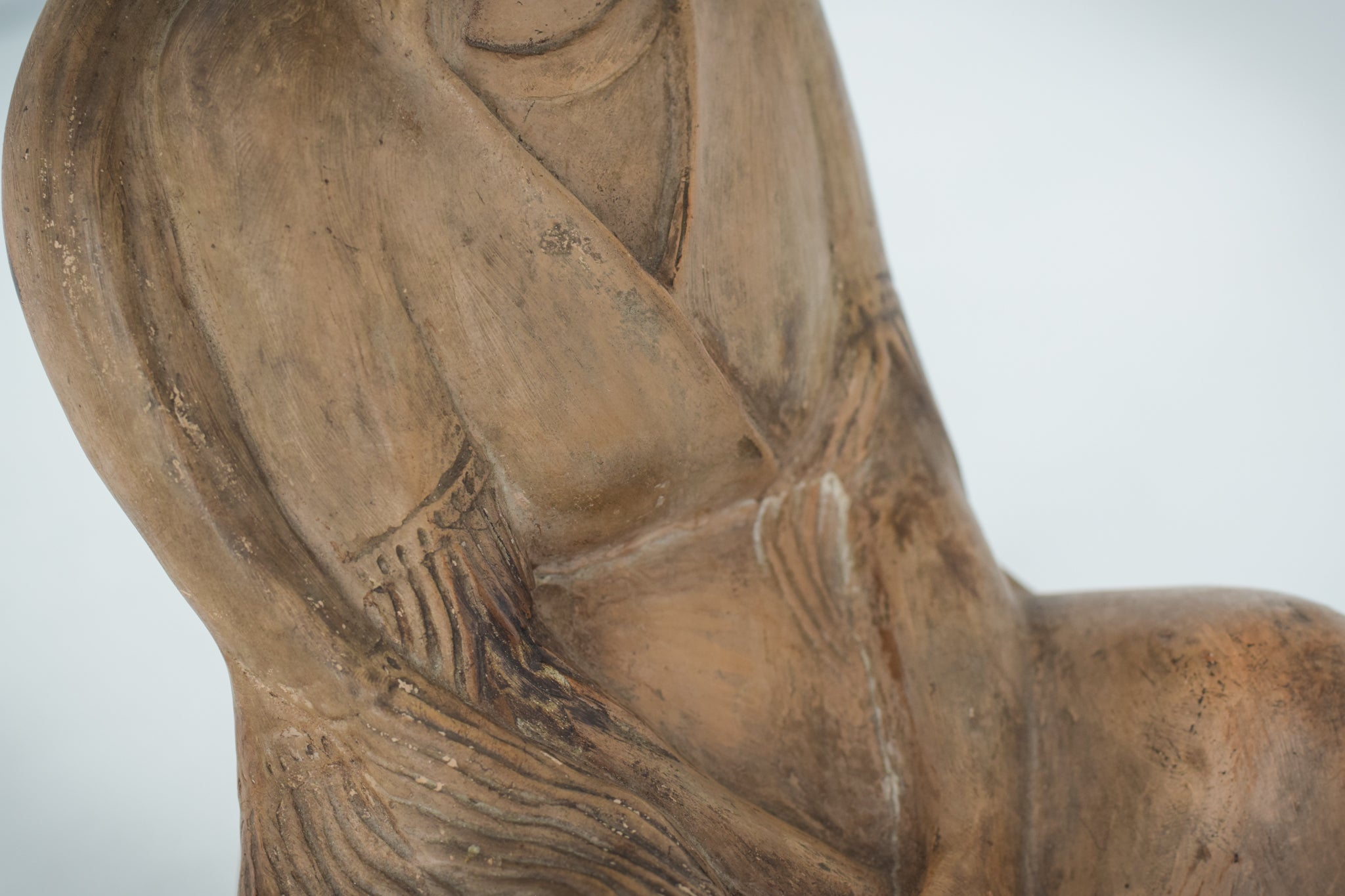 Terracotta Sculpture of A Draped Seated Woman_Detail 3