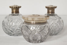 Load image into Gallery viewer, Three Silver Topped Cut Glass Bottles
