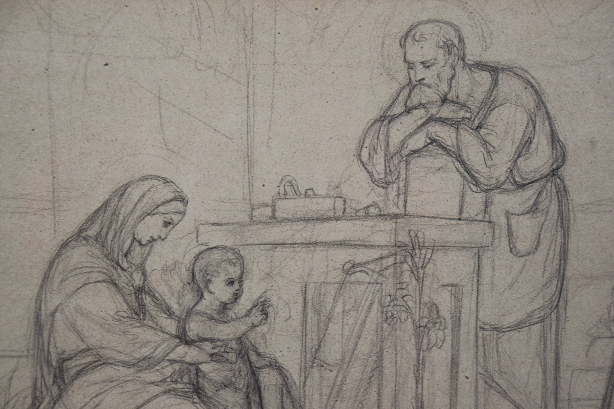 Pre-Raphaelite Drawing of the Holy Family_Detail