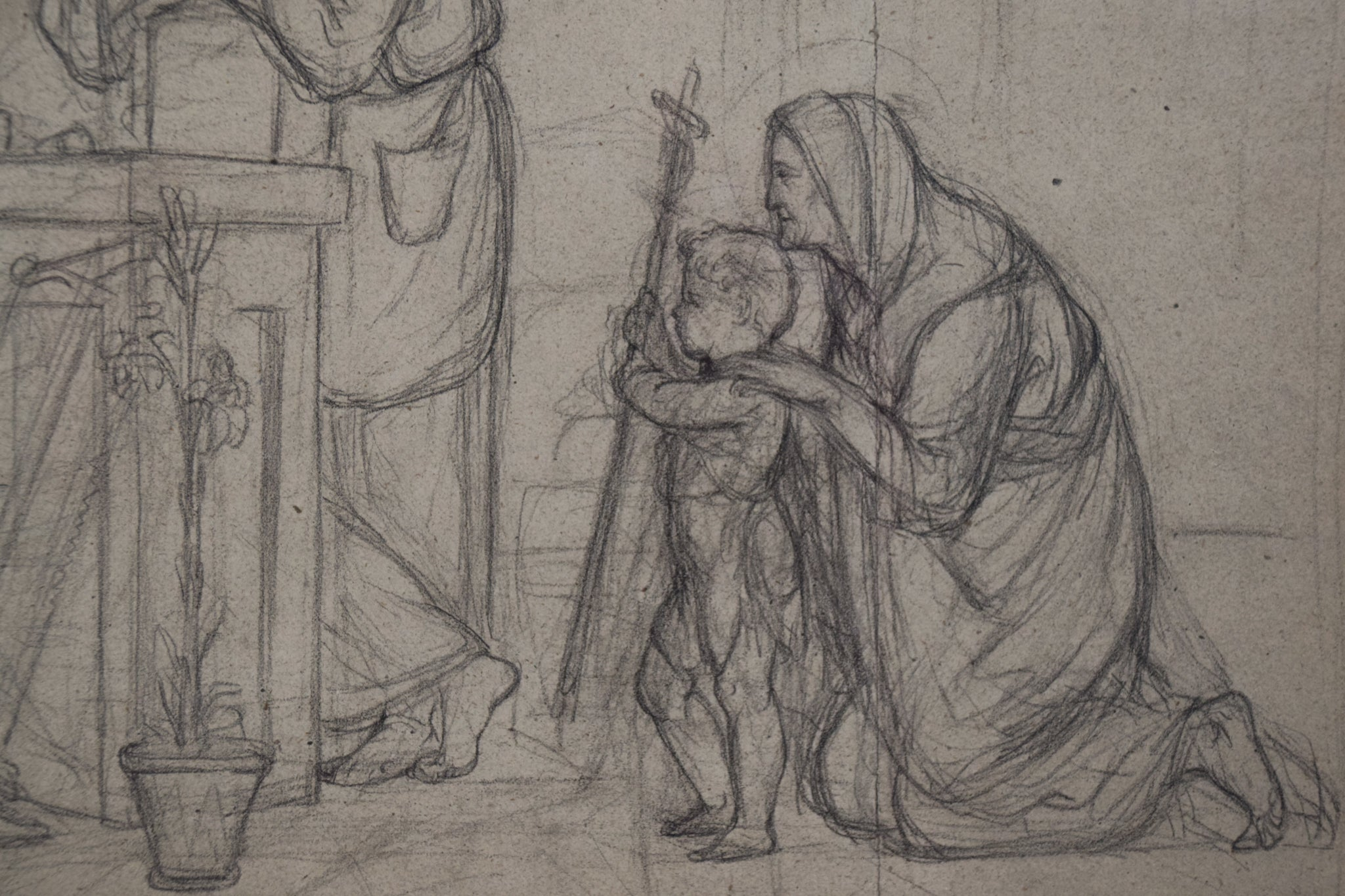 Pre-Raphaelite Drawing of the Holy Family_Detail 2