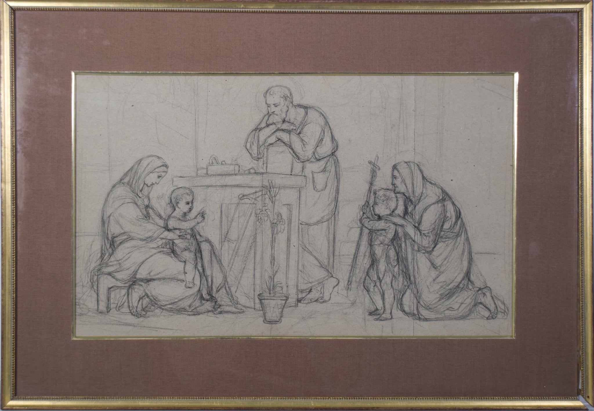 Pre-Raphaelite Drawing of the Holy Family_Framed
