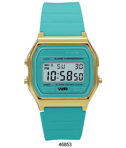Sporty Turquoise Silicon Digital Watch