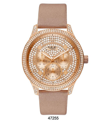 M Milano Expressions Nude Vegan Leather Band Watch with Rose Gold Case and Rose Gold Dial with Stones
