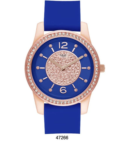 M Milano Expressions Blue Silicon Band Watch with Blue
