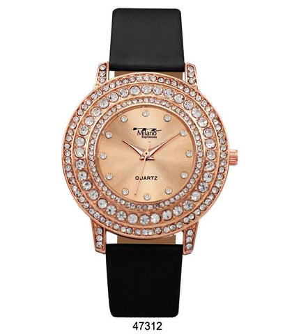 M Milano Expressions Black Vegan Leather Band Watch with Rose Gold Stone Case and Rose Gold Dial