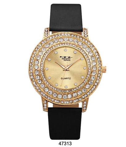 M Milano Expressions Black Vegan Leather Band Watch with Gold Stone Case and Gold Dial