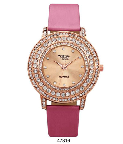 M Milano Expressions Pink Vegan Leather Band Watch with Rose Gold Stone Case and Rose Gold Dial