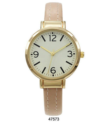 Nude Vegan Leather Cuff Watch with Gold Case and Gold Dial