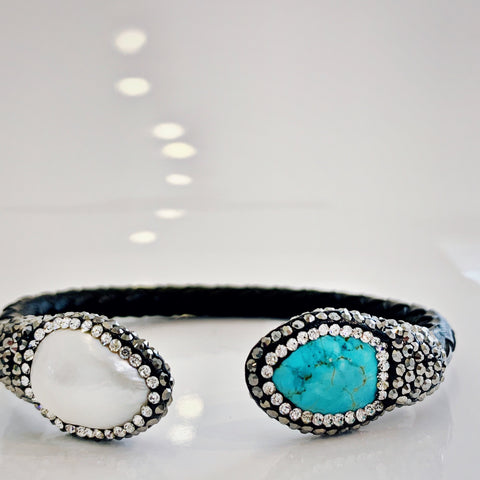 Leather Turquoise and Pearl Bracelet