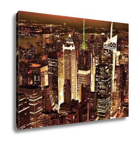 Gallery Wrapped Canvas, New York Sunset Skyline Taken From The Empire State Building Gold Filter
