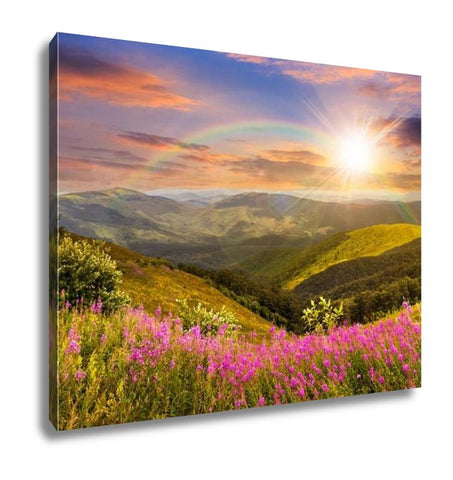 Gallery Wrapped Canvas, Wild Flowers On The Mountain Top At Sunset