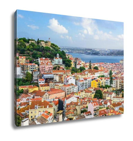 Gallery Wrapped Canvas, Lisbon Portugal Skyline At Sao Jorge Castle In The Day