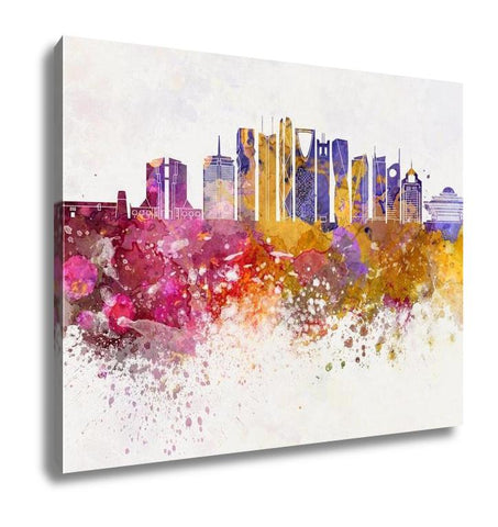 Gallery Wrapped Canvas, Riyadh V2 Skyline Artistic Abstract In Watercolor