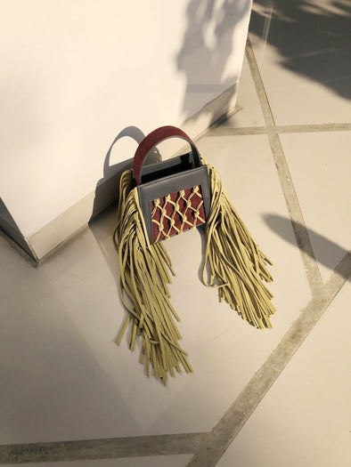 MINI AMU FRINGES - GREY / YELLOW