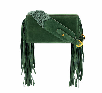 SAMA BOX BAG - GREEN FRINGE