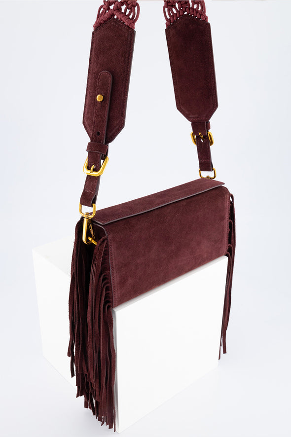SAMA BOX BAG - DARK PURPLE FRINGE