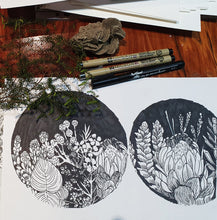Load image into Gallery viewer, Pen and Ink Protea Studs