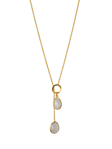 Gold Slip Two Stone Necklace