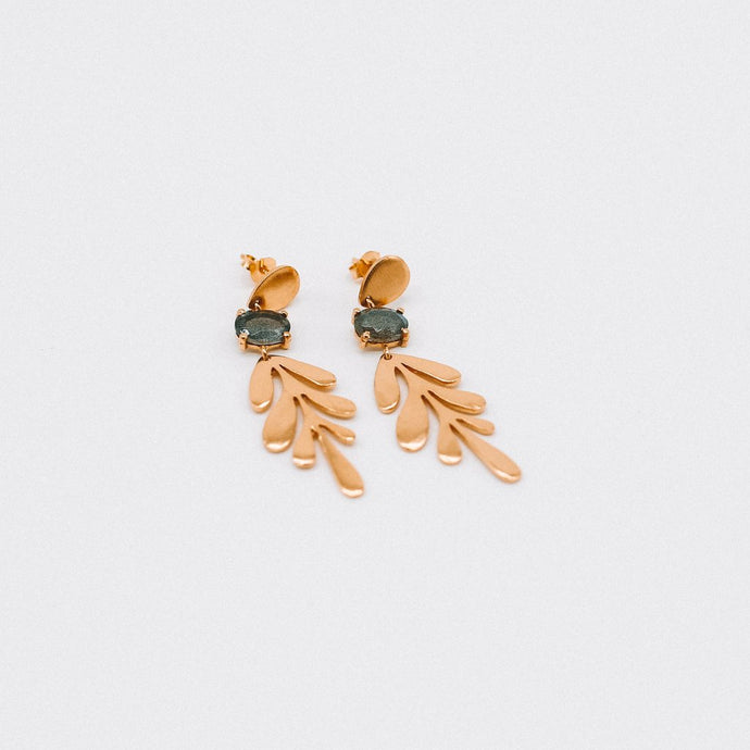 Drop Leaf Earring with Stone