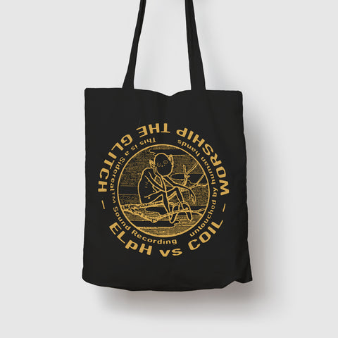 Worship The Glitch Gold-on-Black Tote Bag