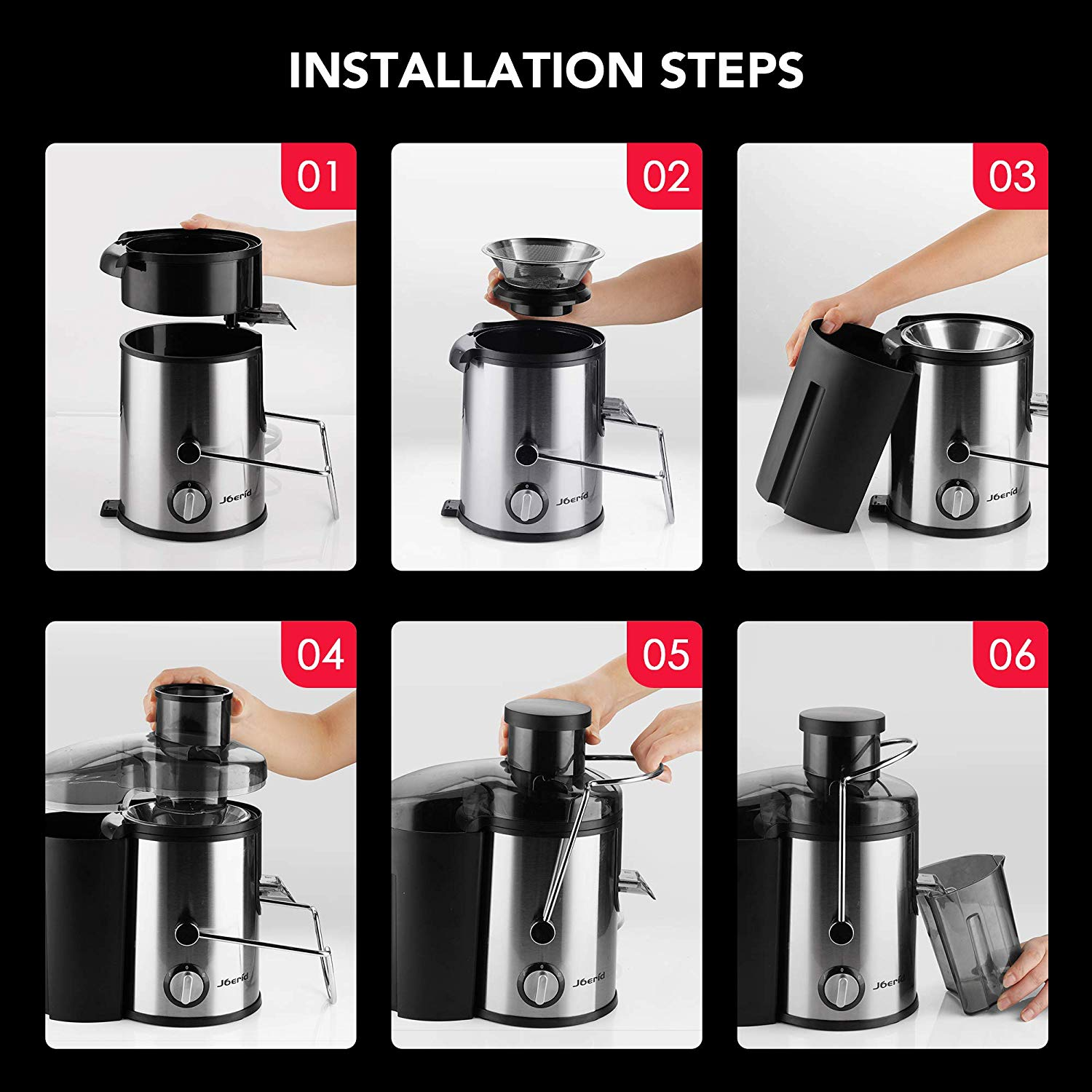 Juicer Machines, [2020 Upgrade] Joerid Centrifugal Juicer, Juice Extractor with Spout Adjustable, Lighter & Powerful, Easy to Clean & BPA Free,