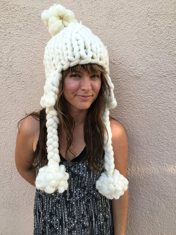 Chunky Knit hat w/ Ear Flaps & Braids