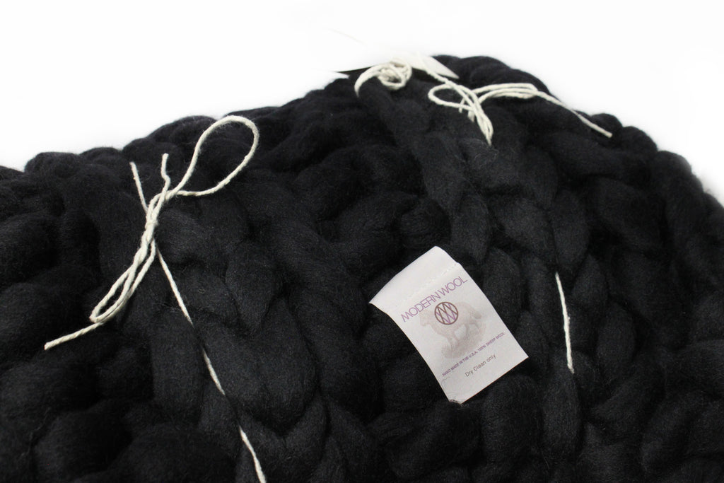 Black Chunky Knit Throw