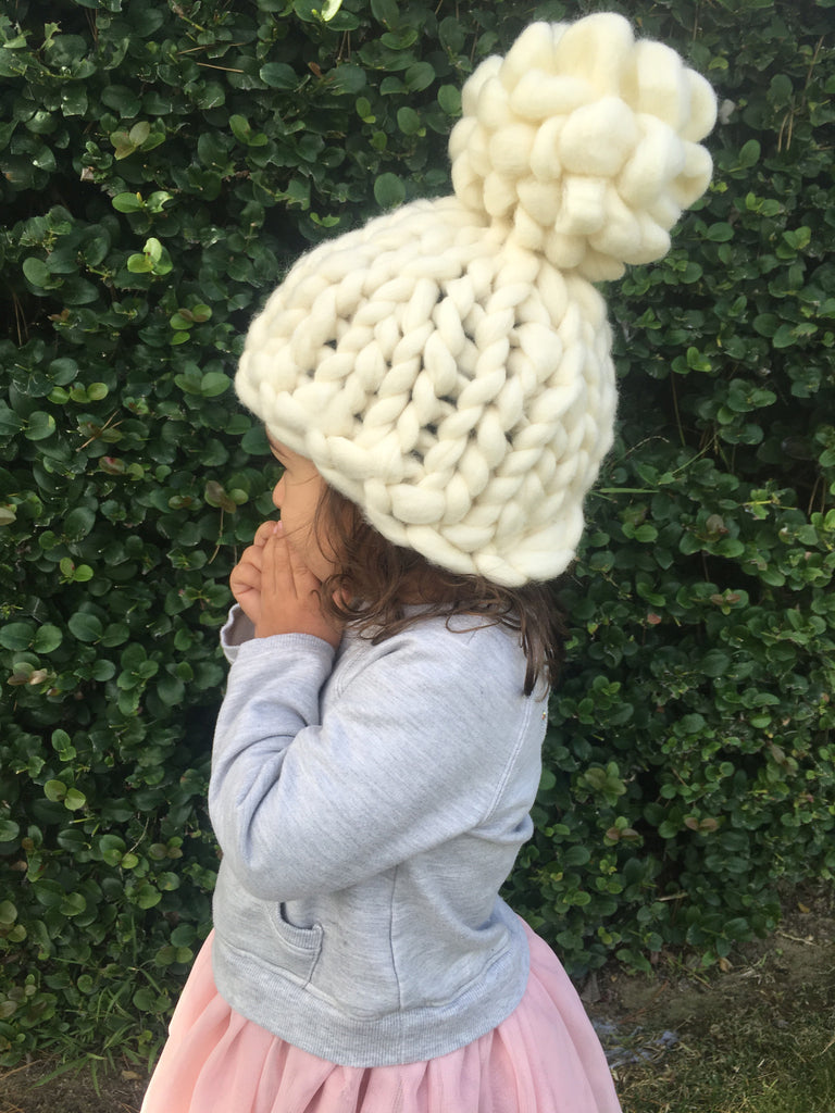 Child's knitted hat White