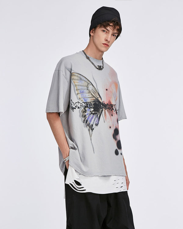 Butterfly T-Shirt Washed Grau