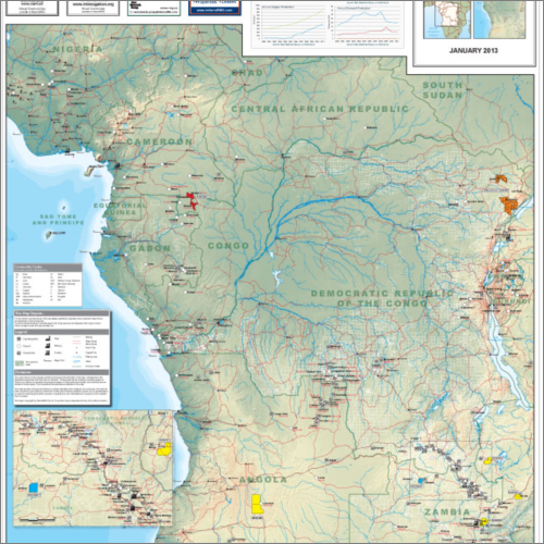 Central Africa Mining and Resources Map - 2013