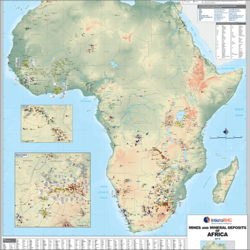 Mining map of Africa showing major mine sites and projects