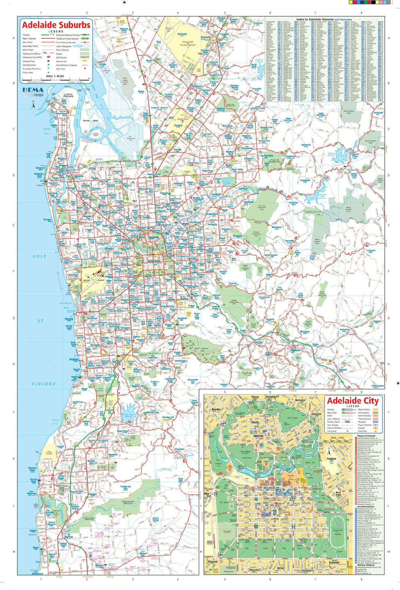 Businessmapsaustralia Map of Adelaide City containing detailed