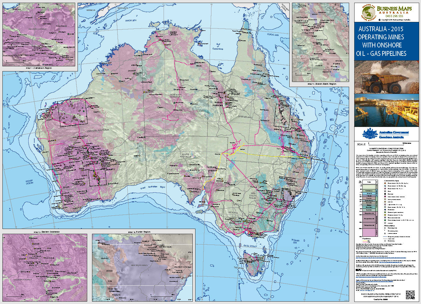 australia oil gas pipelines with operating mines 2017
