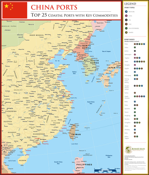 China coastal ports map