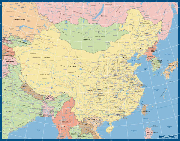 Custom Political Road Map of China and surrounds.