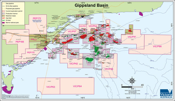 Gippsland Oil and Gas Map