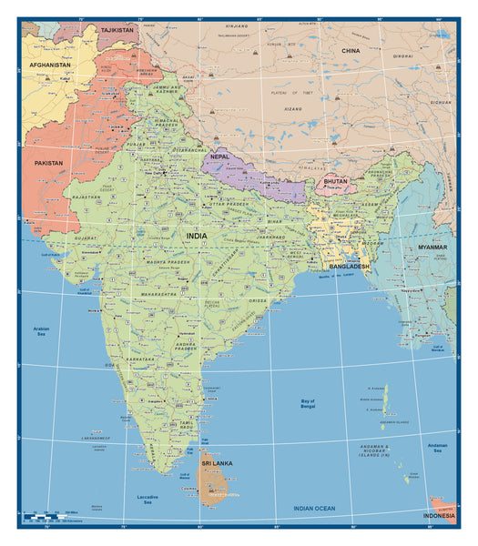 Custom political Map of India