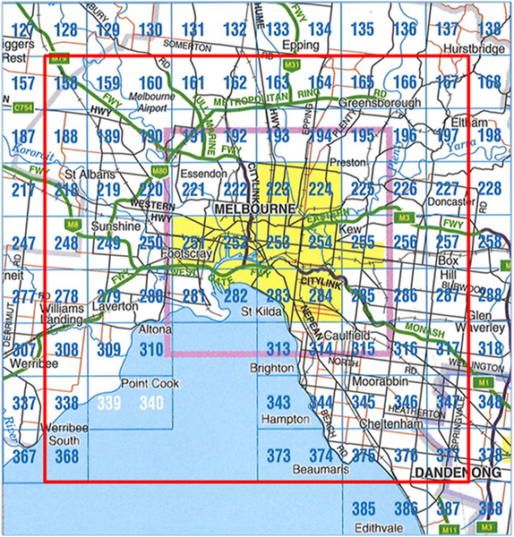 Melbourne City Custom Street Map grid