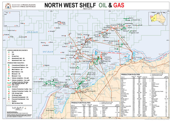 North West Shelf Oil and Gas Map.