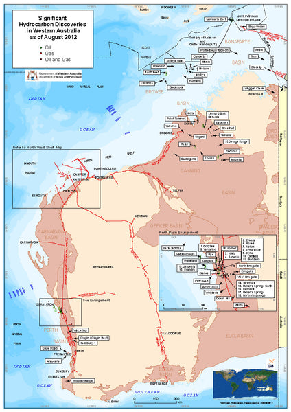 Hydrocarbon Discoveries map of WA