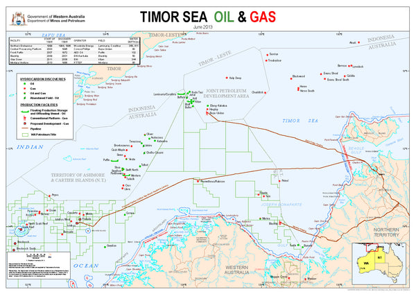 Timor Sea Oil and Gas Map