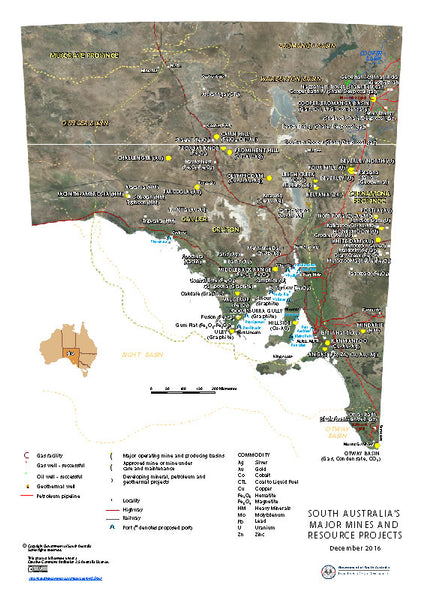 South Australia Major Mines and Resources Projects.