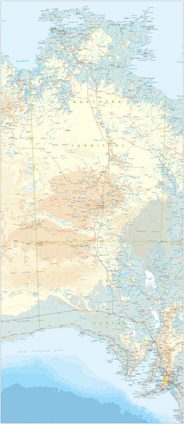 Custom Map of Central Australia- Stuart Highway