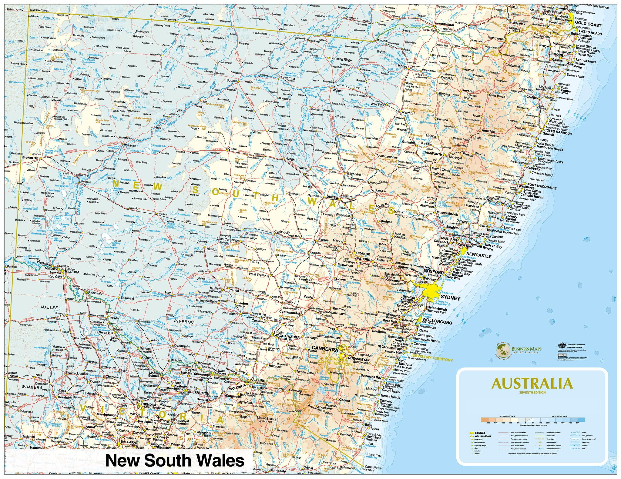 businessmapsaustralia custom political reference map of new