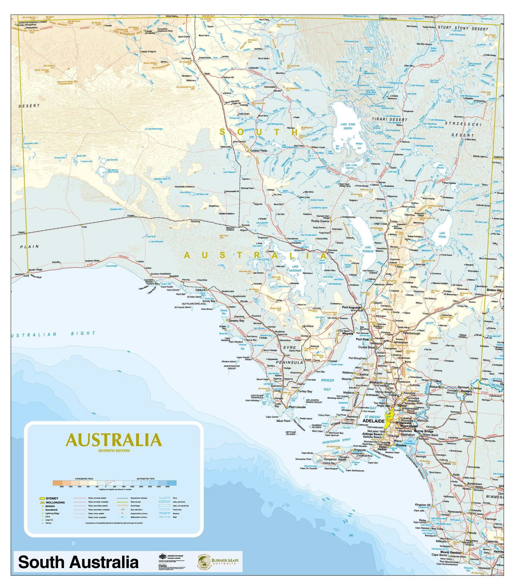 south australia state reference map