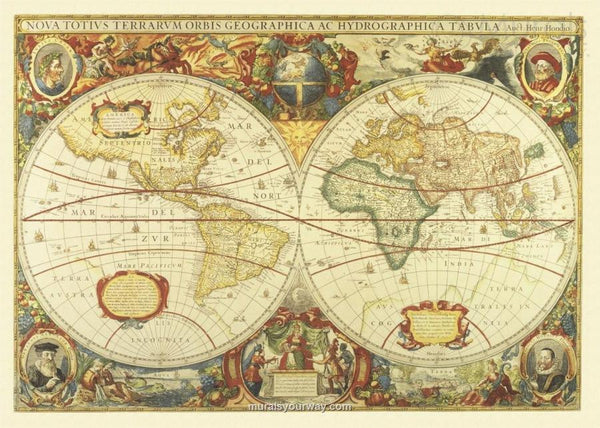 World Antique Double Globe Wall Map
