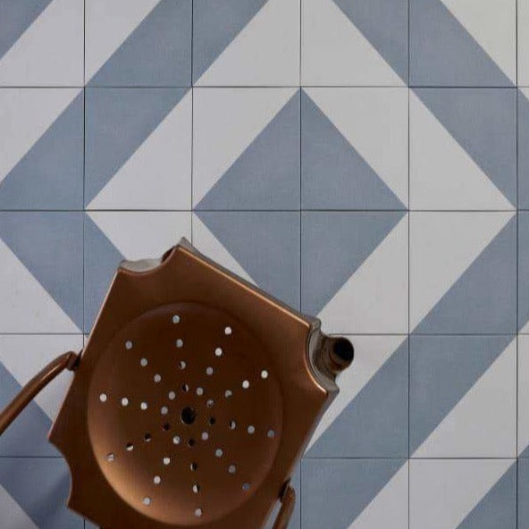 Parisian Cafe Tiles Tri Blue