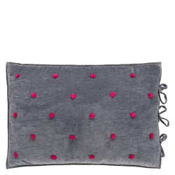 Sevanti Graphite Rectangular Quilted Cushion With Pom Poms