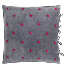 Sevanti Graphite Square Quilted Cushion With Pom Poms