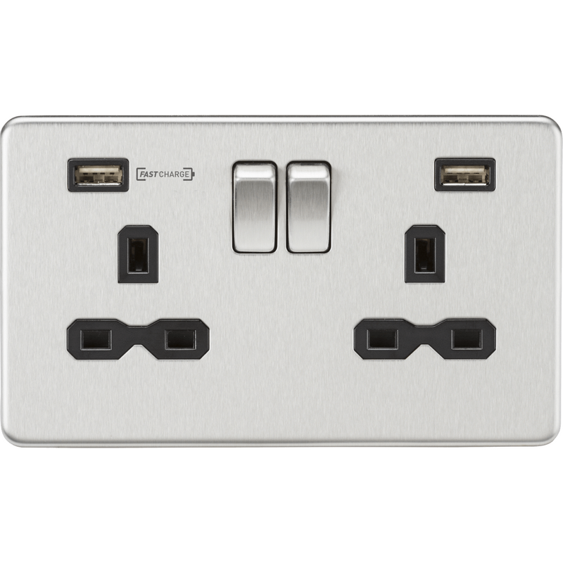 Knightsbridge 13A 2G DP Switched Socket with Dual USB Charger (Type-A FASTCHARGE port) - Brushed Chrome/Black